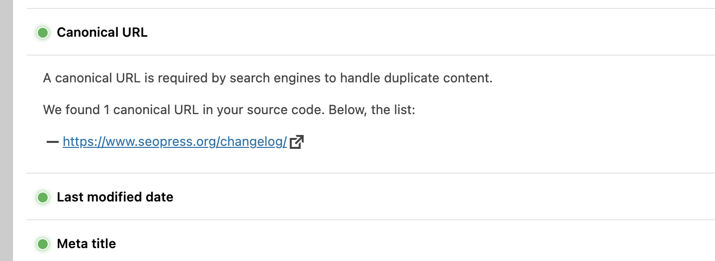 Canonical URLs check from SEOPress content analysis