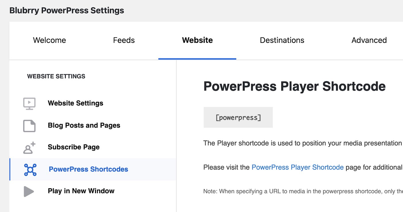 PowerPress settings page
