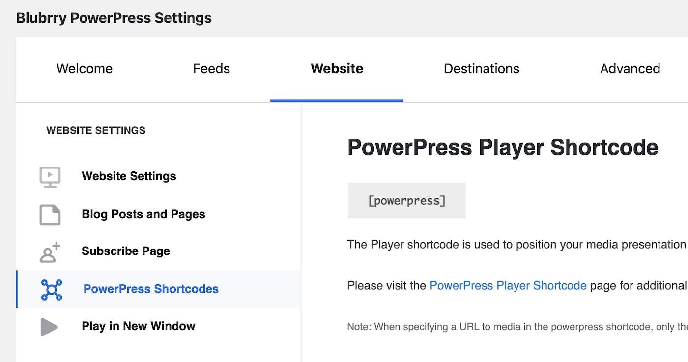 PowerPress settings page