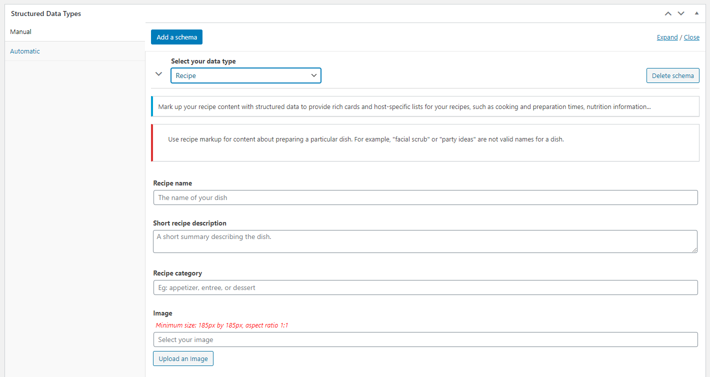 The Structured Data Type metabox added to the editor by SEOPress