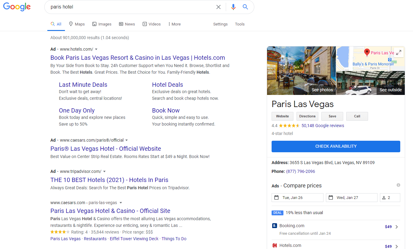 """Search results for """"Paris Hotel"""" as seen in Coeur d'Alene obtained using Brightlocal's Local Search Results Checker"""