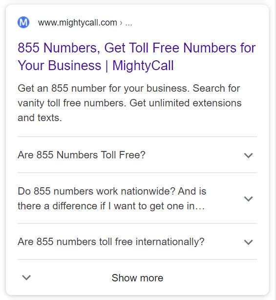 https://www.mightycall.com/855numbers/ using the FAQ schema