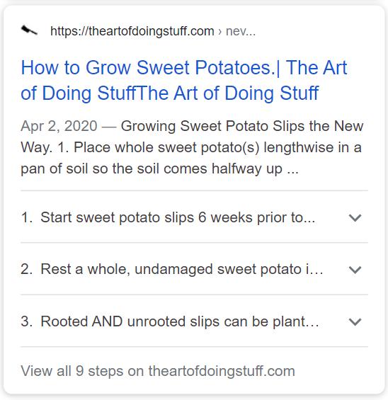 https://www.theartofdoingstuff.com/never-grow-sweet-potato-slips-this-way-again/ using How-To schema