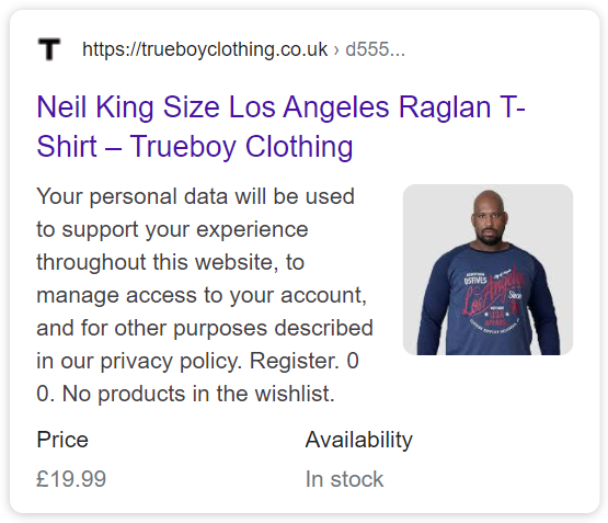 https://trueboyclothing.co.uk/product/d555neiltop/ using the Product schema. But shame about the Meta Description!
