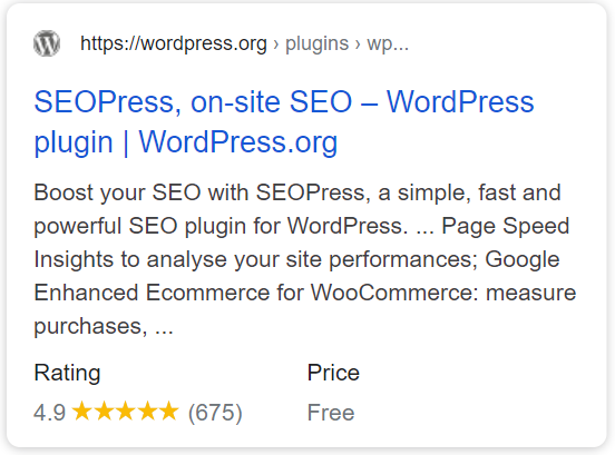 https://wordpress.org/plugins/wp-seopress/ uses the SoftwareApplication schema to identify SEOPress