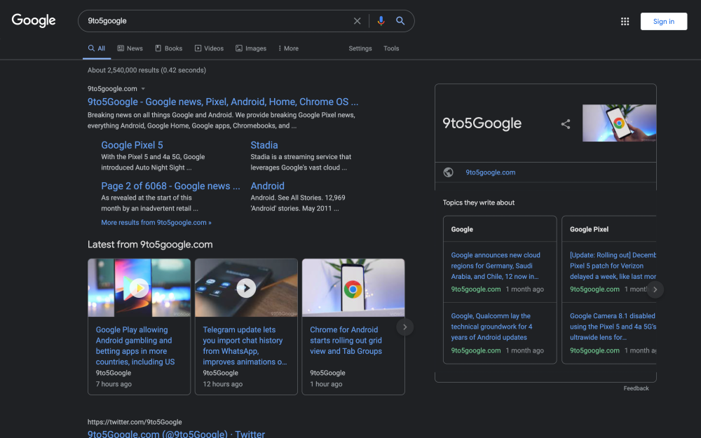 Google in dark mode. Images from 9to5Google