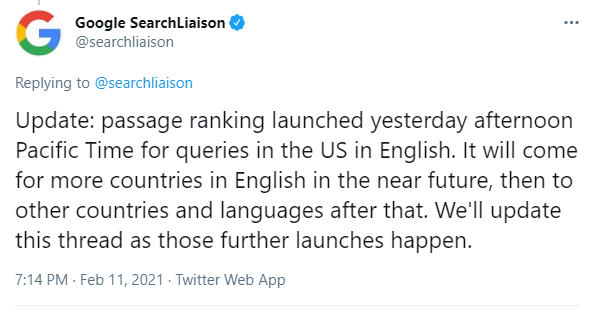 Announcement of Passage Ranking launch from Google Search Liaison.