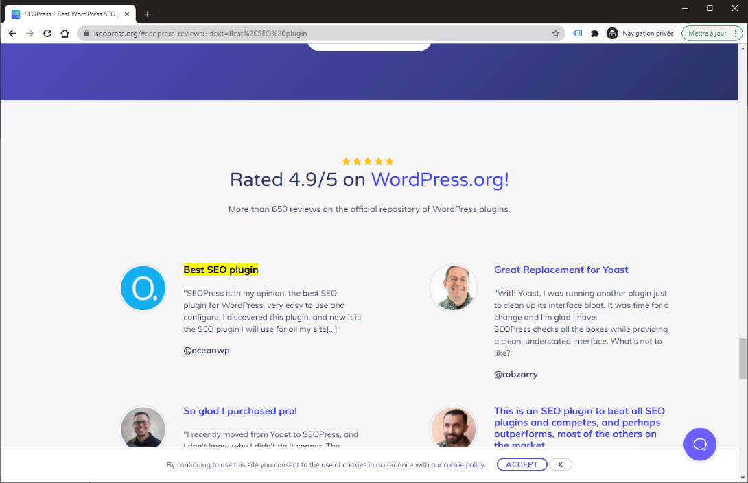 Example of a link using a text fragment link https://www.seopress.org/#seopress-reviews:~:text=Best%20SEO%20plugin