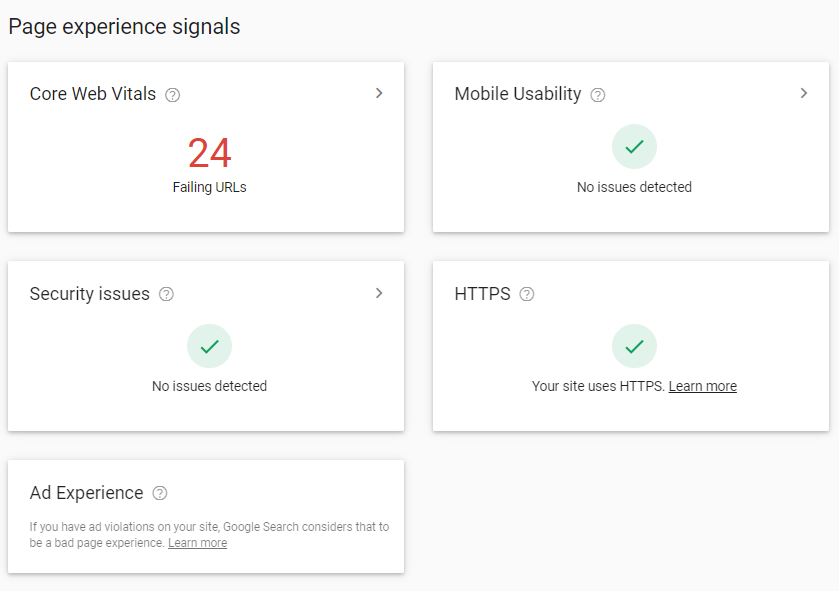 Screen shot from the Page Experience Report in Google Search Console.