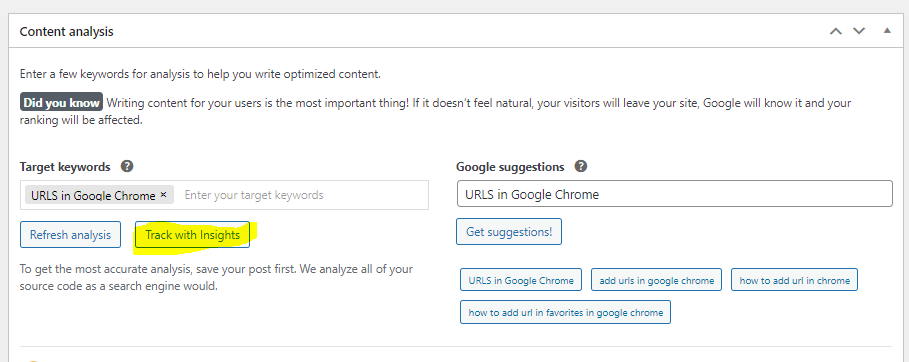 you can use the Content analysis metabox to find keywords