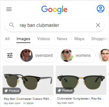 Product tags in Google Images search results