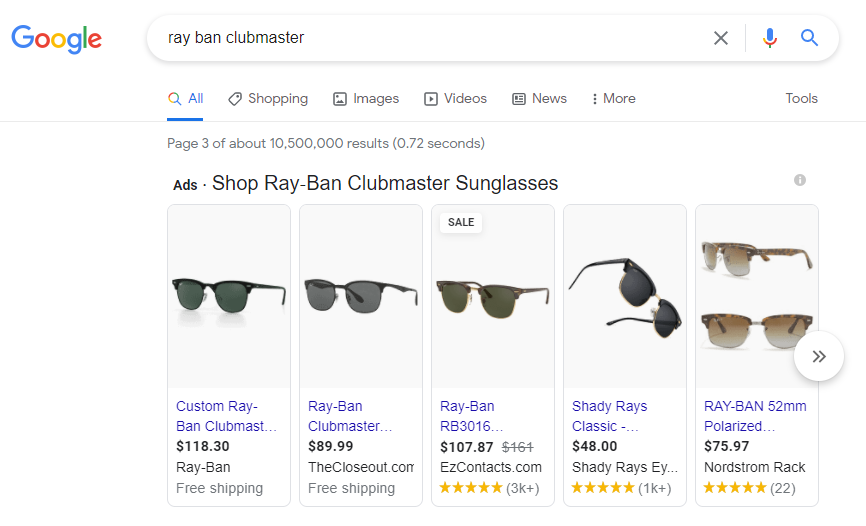 Screenshot of Google search results featuring Google Shopping