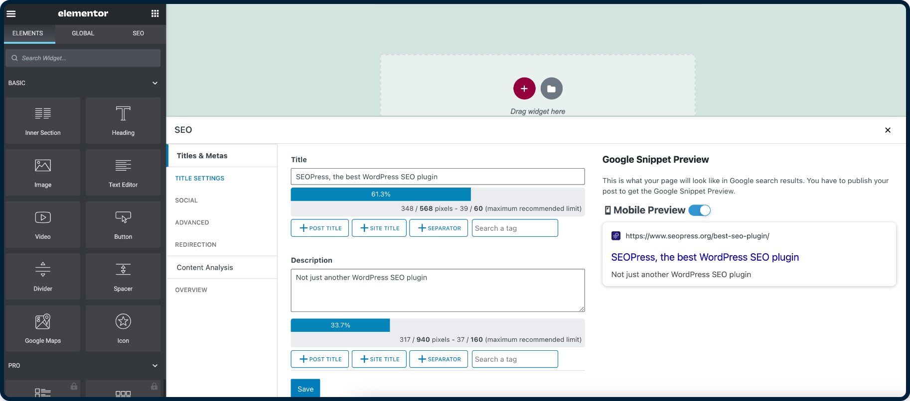 SEOPress integrated with Elementor page builder