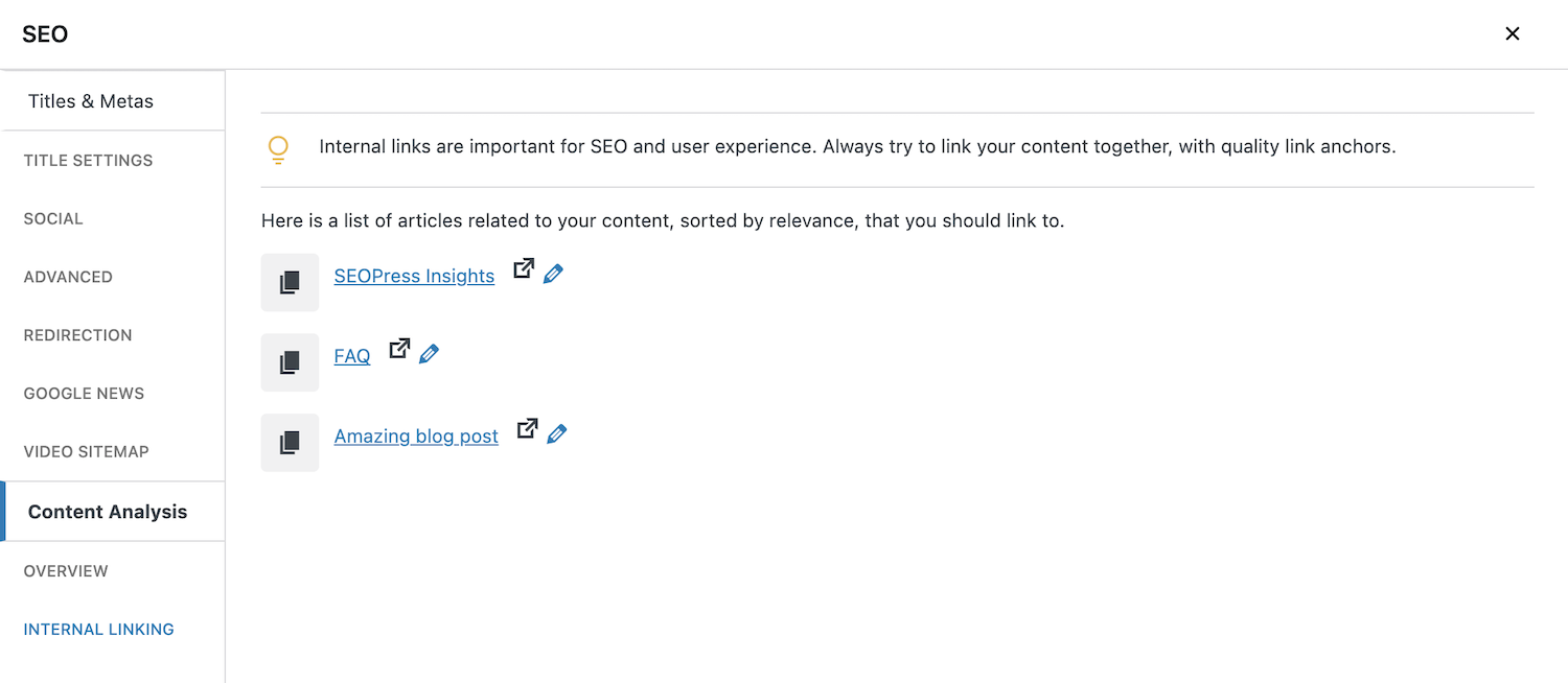 Universal SEO metabox now internal linking suggestions