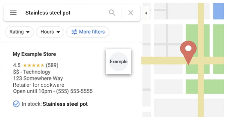 Illustrations of product data in Google search results