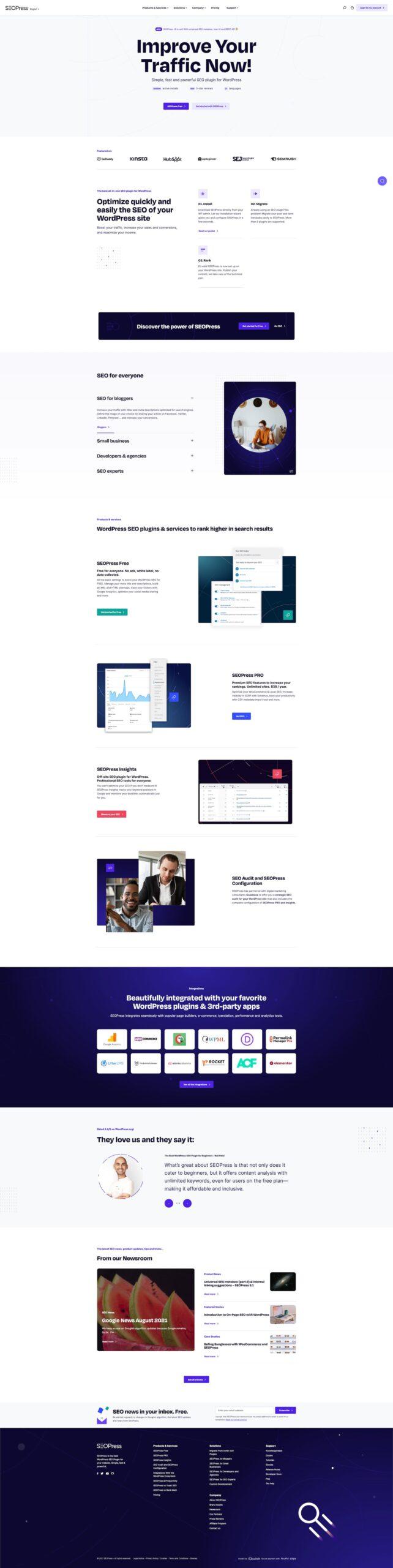 SEOPress new website (homepage)