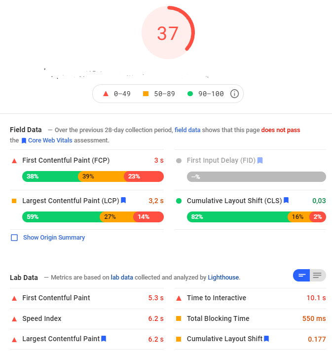 Screen shot from PageSpeed Insights
