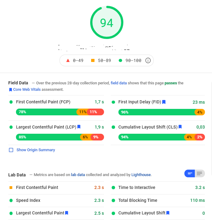 6 pagespeed insights good